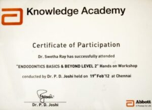 Dr. Swetha Ray certificate