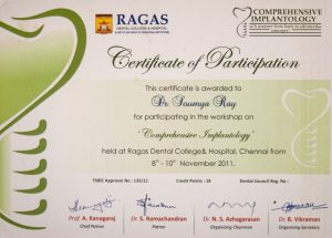Dr. Soumya Ray certificate